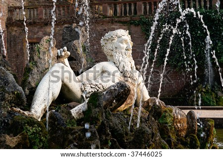 Close view of Heidelberg Castle, Germany, in Autumn - stock photo