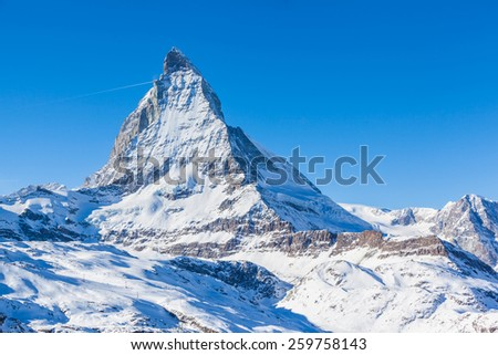 Close view of Matterhorn in winter on the hiking path, Zermatt, Switzerland - stock photo
