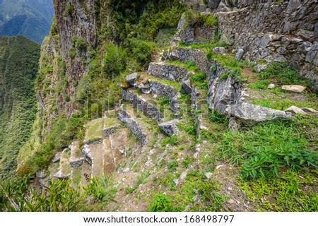 Close view of the architecture of Machu Picchu, Peru - stock photo