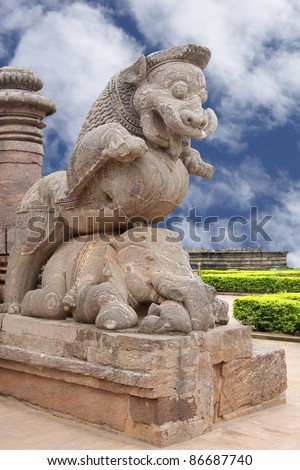 Close view of the giant lion at the entrance on clear sky, Sun temple Konark - stock photo