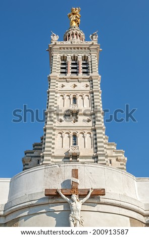 """Close view of the historic church """"Notre Dame de la Garde"""" of Marseille in South France - stock photo"""