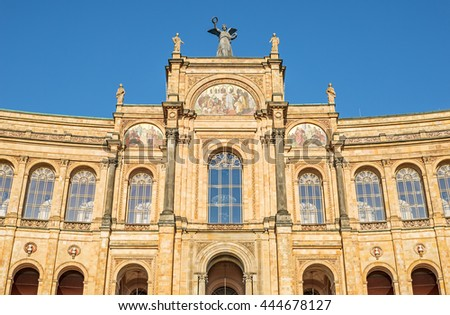 """Close view of the historic palace """"Maximilianeum"""" of Munich in Bavaria - stock photo"""
