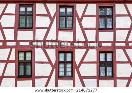 Close view of the typical historic frame house of Nuremberg in Bavaria - stock photo