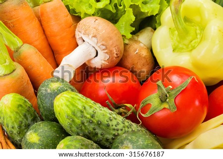 Close view of various fresh summer vegetables  - stock photo