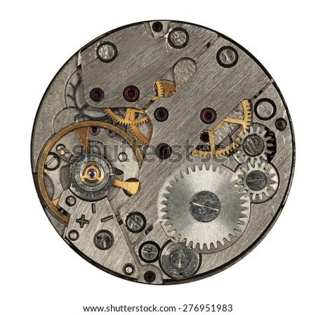 Close view of watch mechanism isolated on white background - stock photo