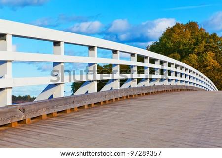 Close view of wooden bridge in Helsinki, Finland - stock photo