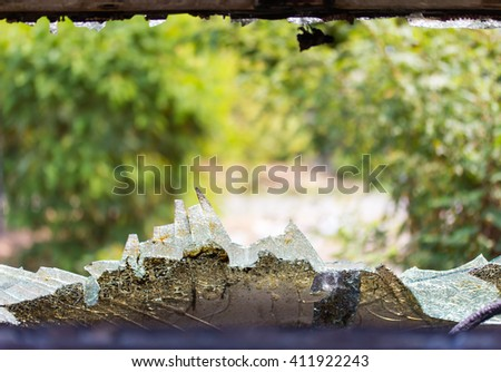 Close windshield cracked in the accident which wrecked a car from the inside to the leaf green blur. - stock photo