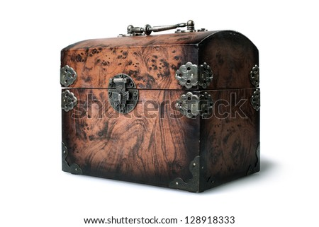 close wooden chest isolated on white background - stock photo