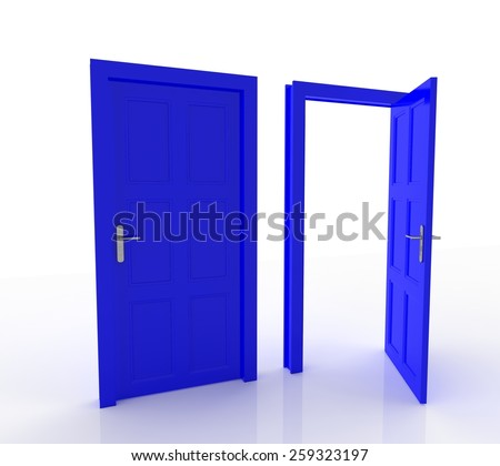 Closed and Open Doors Isolated - stock photo