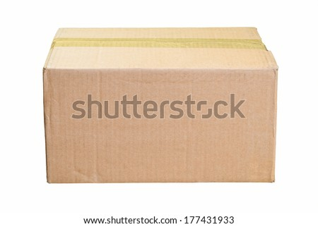 Closed and Taped Brown Cardboard Box for Copy - stock photo