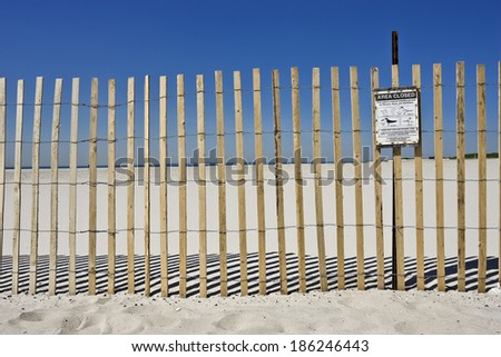 closed area during nesting near the coast in order to preserve the bird population  - stock photo