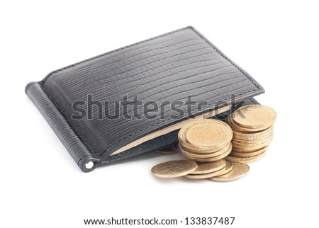 closed black leather wallet with money isolated on white background - stock photo