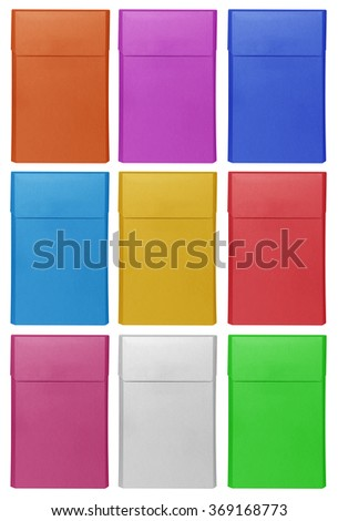 Closed blank colorful cigarettes pack box isolated on white. Ready for your design. - stock photo