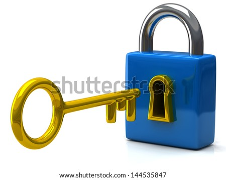 Closed blue pad lock with key, 3d icon - stock photo