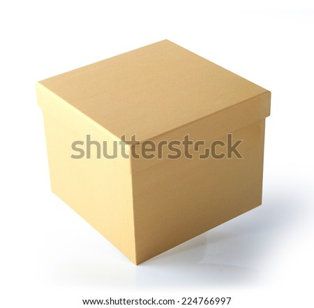 Closed brown Cardboard Carton Gift Box With Lid. Illustration Isolated On White Background. This has clipping path. - stock photo