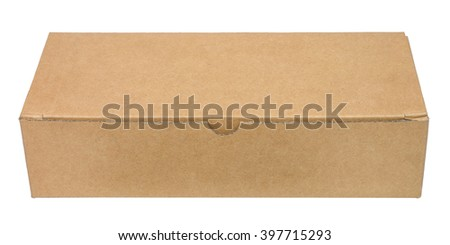 Closed brown packing cardboard box. Isolated on white background. Front view. No shadow. - stock photo