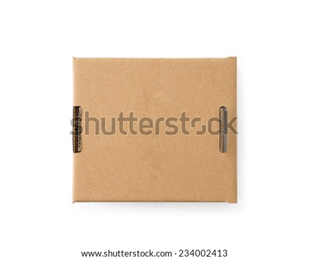 Closed cardboard box , Clipping path , Isolated on a white - stock photo