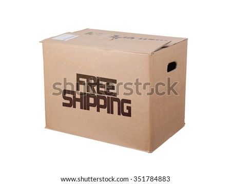 Closed cardboard box, isolated on a white background, free shipping - stock photo