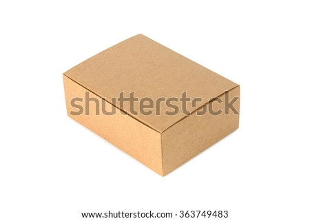 Closed cardboard Box or brown paper package box isolated on White background - stock photo