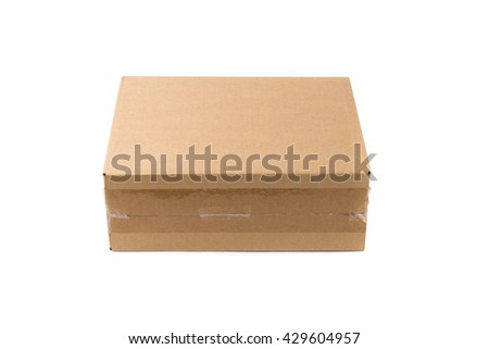 Closed cardboard Box or brown paper package box isolated with soft shadow on White background - stock photo