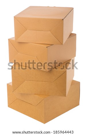 Closed cardboard boxes isolated over white background - stock photo
