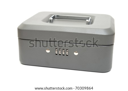 Closed cashbox with a digital code lock. Isolated on white. - stock photo