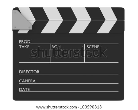 Closed cinema slate. Customizable and Isolated over white - stock photo