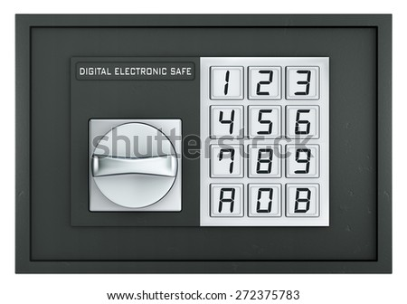 Closed electronic safe isolated on white with clipping path - stock photo