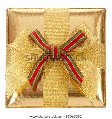 Closed gold gift box with bow and ribbon on a white background. View from Up - stock photo
