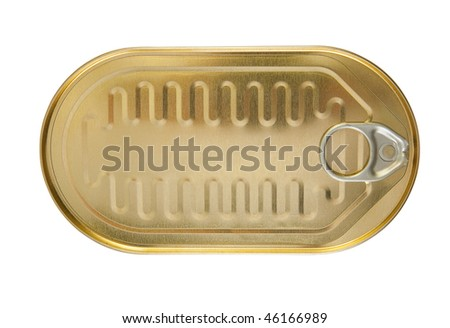 closed gold metal tin isolated on white background - stock photo
