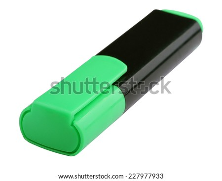 closed green marker on a white background - stock photo