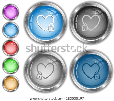 Closed heart. Raster internet buttons.  - stock photo