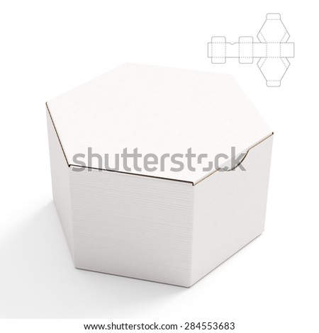 Closed Hexagonal Cardboard Box Box with Die Cut Template on White Background - stock photo