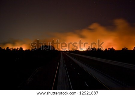 Closed I95 roadway with brush fire in South Brevard County of Florida - stock photo