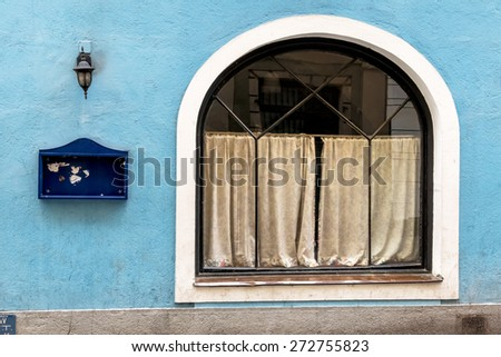 closed inn blue facade, a symbol of economic slowdown, gastronomy, crisis - stock photo