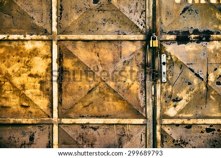 Closed iron door - stock photo