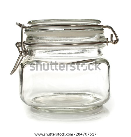 Closed jar for canning isolated on white background - stock photo