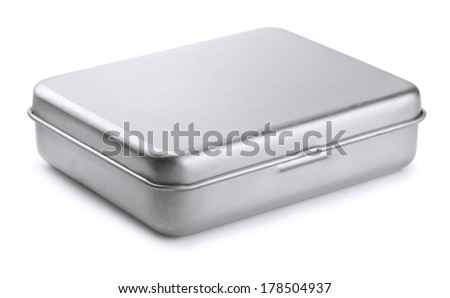 Closed metal box isolated on white - stock photo
