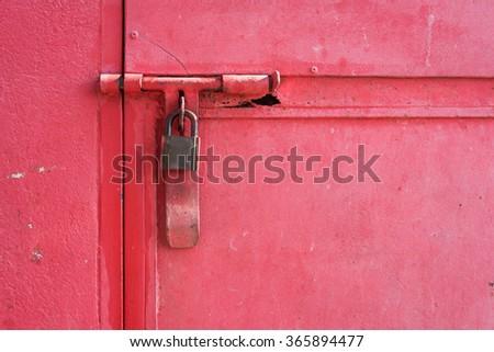 Closed metal lock door security protection padlock - stock photo