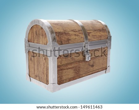 Closed old antique chest on blue background - stock photo