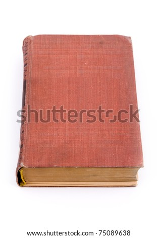 Closed old book isolated on white background - stock photo