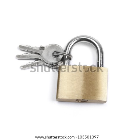Closed padlock and keys isolated on white background - stock photo