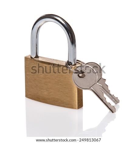 Closed padlock on white background - stock photo