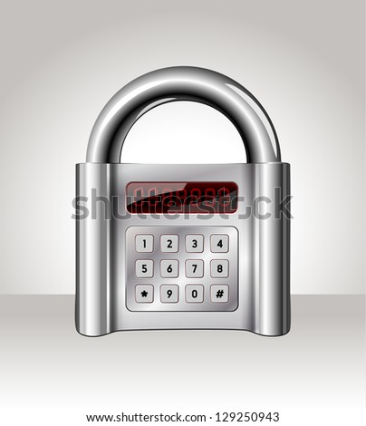 Closed padlock with digital interface,data security concept - stock photo