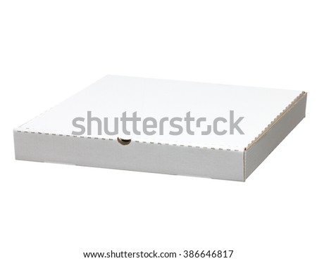 closed pizza box. white pizza box isolated on white with clipping path - stock photo