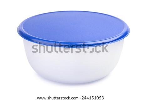 Closed plastic food container isolated  on white - stock photo