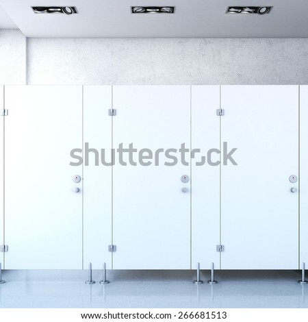 Closed public toilet cubicles. 3d rendering - stock photo