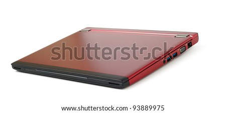 Closed red 13 inch laptop isolated with clipping path over white background - stock photo