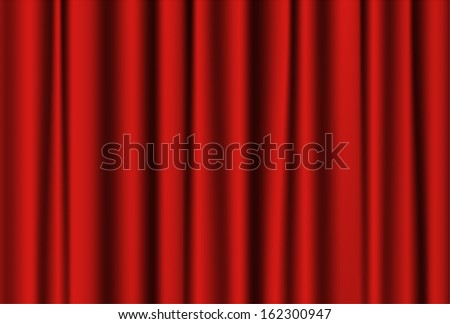 Closed red theater curtain. Drapery Textile Background.  Raster image. - stock photo