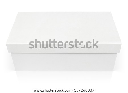 Closed shoe box isolated on white with clipping path - stock photo